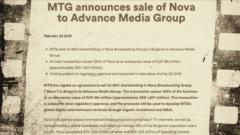 MTG announces sale of Nova to Advance Media Group