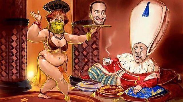 Карикатура на британското списание Vive Charlie, на която Ангела Меркел поднася на Ердоган главата на сатирика Ян Бьомерман.