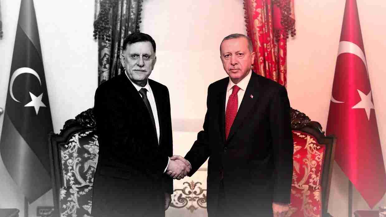 Либиският премиер Файез ас Сарадж и турският президент Ердоган